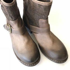 Sundance Leather Moto Boots Brown Mesh Detail